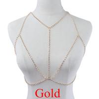 Wholesale Gold Cheap Body Chain - Sexy Rhinestone Bra Chain Cheap Rhinestone Bra Chain Women Gold Diamond Body Jewelry Unique Flash Shiny Rhinestone Body Chain