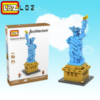 Wholesale Usa Presents - LOZ 9387 Statue Of Liberty Building Blocks toys World Famous Architecture Mini Bricks DIY Toys Present Gift USA toys for children 0.5 820pcs
