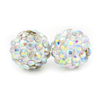 Shamballa Pave Disco Ball Argila Beads Half Drilled Polymer Clay 6 Rows Rhinestone Beads Round Charms Jóias Making 100pcs / bag