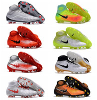 Wholesale Cheap Mens Ankle Shoes - 2017 original soccer cleats red magista obra fg AG II soccer shoes high ankle football boots cheap Mens cleats boots football shoes orden