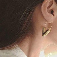 Wholesale Vintage Geometric Earrings - Vintage Personality Gold Big V Shape Geometric Earrings for Women Exaggerated Dangle Earrings Brinco Earing Eardrops