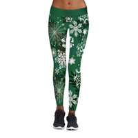 Wholesale Ladies Christmas Leggings - Halloween New Women's Fitness Baseball One Piece Sports 3D Print Leggings Ladies Yoga Sexy Pencil Pants Christmas Green Snowflakes