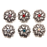 Mix Colors Vintage Rhinestone Noosa Chunks Metal Ginger 18mm Snap Buttons для ювелирных изделий для ювелирных изделий оптом
