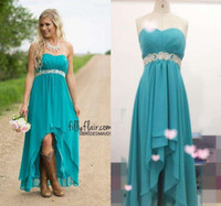 Wholesale Modest Turquoise Dresses - Modest Teal Turquoise Bridesmaid Dresses 2016 Cheap High Low Country Wedding Guest Gowns Under 100 Beaded Chiffon Junior Plus Size Maternity