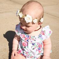 Wholesale diy princess crowns - Baby Headband Garlands Fashion DIY Beach Flower Gold Leaf Crown Hairbands princess Wedding Floral Party Wear Children Hair Accessories KGA01