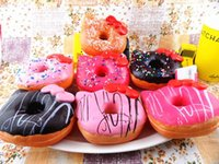 Wholesale Phone Resin - 10cm Kawaii Hello Kity Doughnut Pendant Squishies Jumbo Donut Bag Charm Free Shipping Wholesale Keychain for Phone Large Rare Squishy Bread