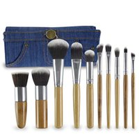 Wholesale Denim Spots - Natural bamboo 10pcs makeup brushes set denim fabric fiber makeup brush exclusive spot hot wholesale