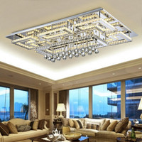 Wholesale Square Crystal Ceiling Lamp - Luxury Modern Crystal Ceiling Light Square Ceiling Lamp K9 Crystal Ceiling Chandeliers for Living Room Bedroom Lamp Indoor Light Fixtures
