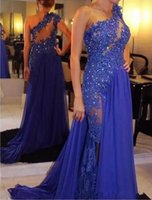 Wholesale One Shoulder Chiffon Pageant Gowns - 2017 Hot Sale Royal Blue Chiffon Long A Line Prom Dresses One Shoulder Sleeveless Evening Gowns Sequin Floor Length Celebrity Pageant Dress