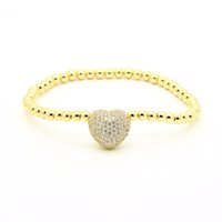 Wholesale Love Stretch Bracelet Wholesale - Wholesale High Grade Fashion Jewelry Micro Pave Beads Clear Cubic Zirconia Love Heart Beaded Stretch Bracelets