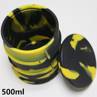 Wholesale Barrel Lid - 500ml Large bho oil barrel vape dab wax silicone jar non-stick butane hash oil silicone container with silicone lid