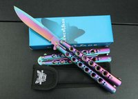 Wholesale Rainbow Butterflies - Benchmade BM42 Butterfly rainbow handle Balisong Spring Latch Tactical knife Camping knives new in original box BM43 41 47 3300 3350