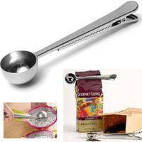 kaffee-clips großhandel-Domain1 universal heathful kochen 1 cup werkzeug edelstahl gemahlener kaffee messlöffel löffel mit beutelverschlussclip küche gute helfer diy