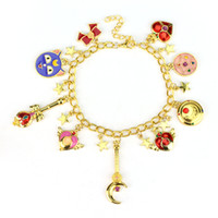 Wholesale Sailor Bracelets Wholesale - Wholesale- ANIME SAILOR MOON CHARM BRACELET CRISIS MOON STAR TRANSFORMATION HEART TSUKINO USAGI CRYSTAL CRESCENT STICK COSPLAY JEWELRY