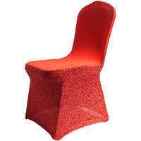 Wholesale Wholesale Chairs For Sale - Newest Hot Sale Red Chair Covers 45*45*90CM Sequin Chair Sash Fashion Wedding Chair Covers For Sepecial Occasion