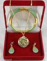 tibet silber drachen armband großhandel-Charmante grüne Jade Dragon Phoenix Anhänger Halskette Ohrring Armband Set