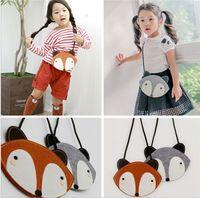 Wholesale Hot Cartoons Fox - HOT 2 Color children Fashion cartoon fox wallet new girl cute fox bag fox purse Handbag wallet 12*17Cm JC338