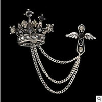 Wholesale Tungsten Brooch - Joker cross emblem female suit tassel chain crown brooches accessories for men only this one colors can choose shipping free