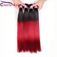 Wholesale Red Two Tone Hair Weaves - Grade 8A Dark Root Red Straight Peruvian 3 Bundles Virgin Ombre Weave Bohemian Two Tone 1B Red Ombre Human Hair Extensions Deals