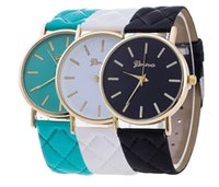 Wholesale Rose Gold Ladies Geneva Watch - wholesale women dress geneva watch women rose gold color Fashion Watch women dress watches ladies plaid leather watches