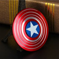 Wholesale Wholesale For 15 - The Anti-Anxiety 360 Spinner Fidget Toy Captain America Shield Helps Focusing for Kids & Adults Stress Reducer Hand Spinner Ceramic Bearing