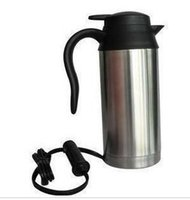 Wholesale 24v Heat - Wholesale-Car electric heating cup stainless steel car heated cup 750ml 12v 24v car vacuum cup kettle free shipping