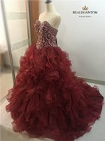 Wholesale Crystal Ball Wine - New Elegant Ball Gown Wine Red Quinceanera Dresses 2017 Beaded Crystals Appliques Sweet 16 Dresses For 15 Years Debutante Gown QC261