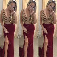 Wholesale plunging neckline sexy photos resale online - Bling Bling Dark Red Formal Evening Dresses Plunging Neckline High Split Sheath Prom Dress Real Picture Pageant Dress Long