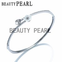 Wholesale Pave Flower - 3 Pieces Blank Bracelet Base Pearl Mountings Flower White Shell Paved Zircon 925 Sterling Silver Bangle Settings