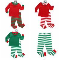 çocuklar çizgili uzun kol toptan satış-Noel Pijama Kıyafetler Çocuklar Uzun Kollu Pamuk Katı Çizgili Noel Pijama Setleri Erkek Kız Çizgili Gecelikler Giyim Setleri