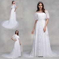 cheap full lace plus size wedding dresses illusion white wedding dress bohemian sweep train bridal gowns