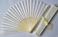 Wholesale Wholesale Personalized Fans - Personalized Luxurious 150pcs lot Silk Fold hand Fan in Elegant Laser-Cut Gift Box +Party Favors wedding Gifts+Printing