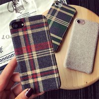 Wholesale Phone Cloth Case - British Style Lattice Cloth Case For iPhone 6 7 Plus PU Matte Cover Coque Luxury Grid Pattern Phone Cases For iPhone 7