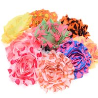 Wholesale Shabby Chic Flowers For Babies - 30PCS Shabby Chic Flower Baby Hair Accessoreis Frayed Flower No Hairclip Flowers for Headbands DIY Accessoreis Fabric Flower