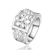 Wholesale Tibet Silver Carved Flowers - wedding Carved flowers sterling silver finger ring fit women,wedding 925 silver rings Solitaire Ring Band Rings ER472