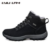 Wholesale Furry Boots - Wholesale-LYU LAM Mens Shoes WINTER Boots FURRY Snow Boots SUEDE Leather Ankle Booties Plush Rubber Botas Hombre