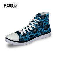 Wholesale- 2016 Brand High Top Shoes de lona para mulheres Fashion Lace Pattern Shoes Casual Femme Lady Flat Canvas Shoes Zapatos Mujer