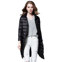 Wholesale Down Jaket - 2017 Winter Jaket Women Ultra Light Down Coats Ladies Long Warm Coat 90% White Duck Down Female Jackets Multicolor XB0164