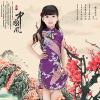 ingrosso vestiti da ragazza dei fiori di pavone-Vintage Baby Abbigliamento Fashion Flower Peacock Girls Dress Stile cinese Summer Kids Abiti 100% cotone quattro colori