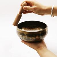 yoga şarkı kutusu toptan satış-Toptan-Nefis Tibet Çan Metal Budizm Budist Meditasyon Şifa Gevşeme için Striker ile Şarkı Kase
