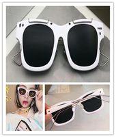 esboço de moda venda por atacado-Nova marca de moda óculos de sol moldura quadrada de resina sintética preta com contorno de metal ouro esboço estilo retro óculos de sol anti-UV