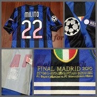 Wholesale Custom Rugby Shorts - RUGBY ucl final 2010 inter Match Worn Player Issue Shirt Jersey Zanetti Sneijder Milito Rugby Football Custom Patches Sponsor