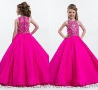 menina de vestido azul crianças venda por atacado-Hot Fuchsia Sparkly Princesa Meninas Pageant Vestidos para Adolescentes Beading Strass Até O Chão Flor Crianças Vestidos Formais Vestidos de Baile
