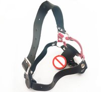 Wholesale Woman Harness Bdsm - Black Silicone Dildo Gag Mouth Gags Adult Sex Toys for Women BDSM Bondage Gear Restraints Head Harness Leather Belts GN223201063