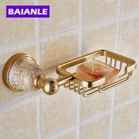 Wholesale Golden Dishes - Free Shipping Luxury Golden Polished Bathroom Soap Basket Holder Solid Aluminum Soap Dish Wall Mounted Modern Bathroom
