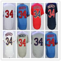 Wholesale Cheap Pinstripe Baseball Jerseys - Mens 34 Kirby Puckett Jersey Cooperstown Minnesota Vintage Throwback Shirts 1987 Cream Blue Grey Pinstripe White Cheap Mix Order