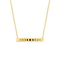 Wholesale Geometric Choker - Wholesale 10Pcs lot 2017 Hot Sale Stainless Steel Jewelry Moon Phase Pendant Necklace Geometric Bar Gold Chains Choker Necklaces For Women