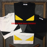 Wholesale Tshirt Leather Sleeves Men - high quality 2017 spring summer fashion brand men leather small 3D eye t-shirt short sleeve tshirt unsex tee tops NPH