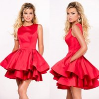 Wholesale Daffodil Bubble Dress - 2017 Amazing Cocktail Dresses Jewel Neck Two Layers Bubble Skirt Red Satin Short Prom Dresses with Pockets