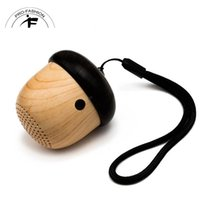 Wholesale Nut Speaker Portable Mini Wooden bluetooth mini Travel Design with Built in Microphone Strap Wood Loudspeaker for iPhone Android Retail